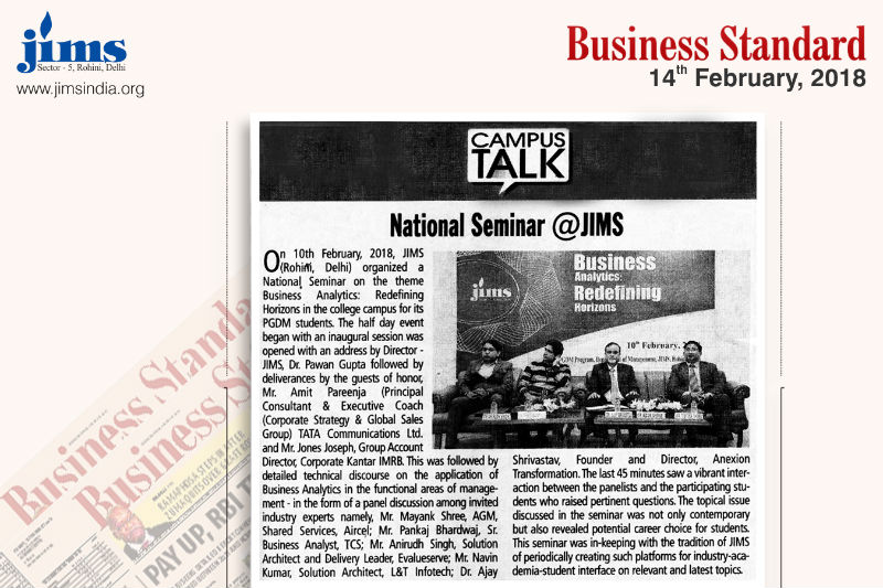 National Seminar @ JIMS Article In Business Standard 0n Feb 14, 2018