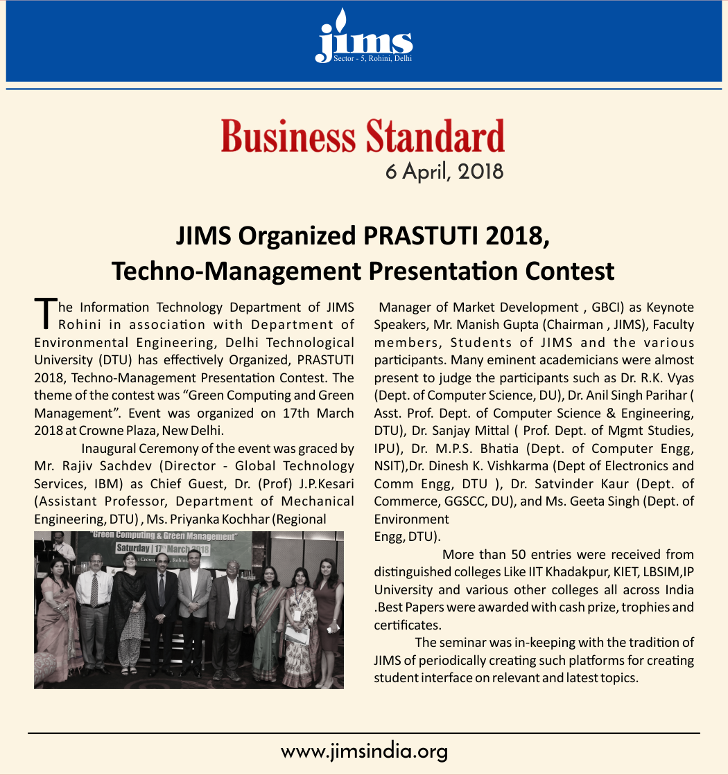 JIMS Techno-Management Presentation Contest PRASTUTI 2018 Coverage in Business Standard