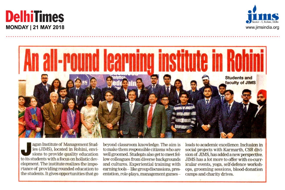Article in Delhi Times titled An all-round learning institute in Rohini
