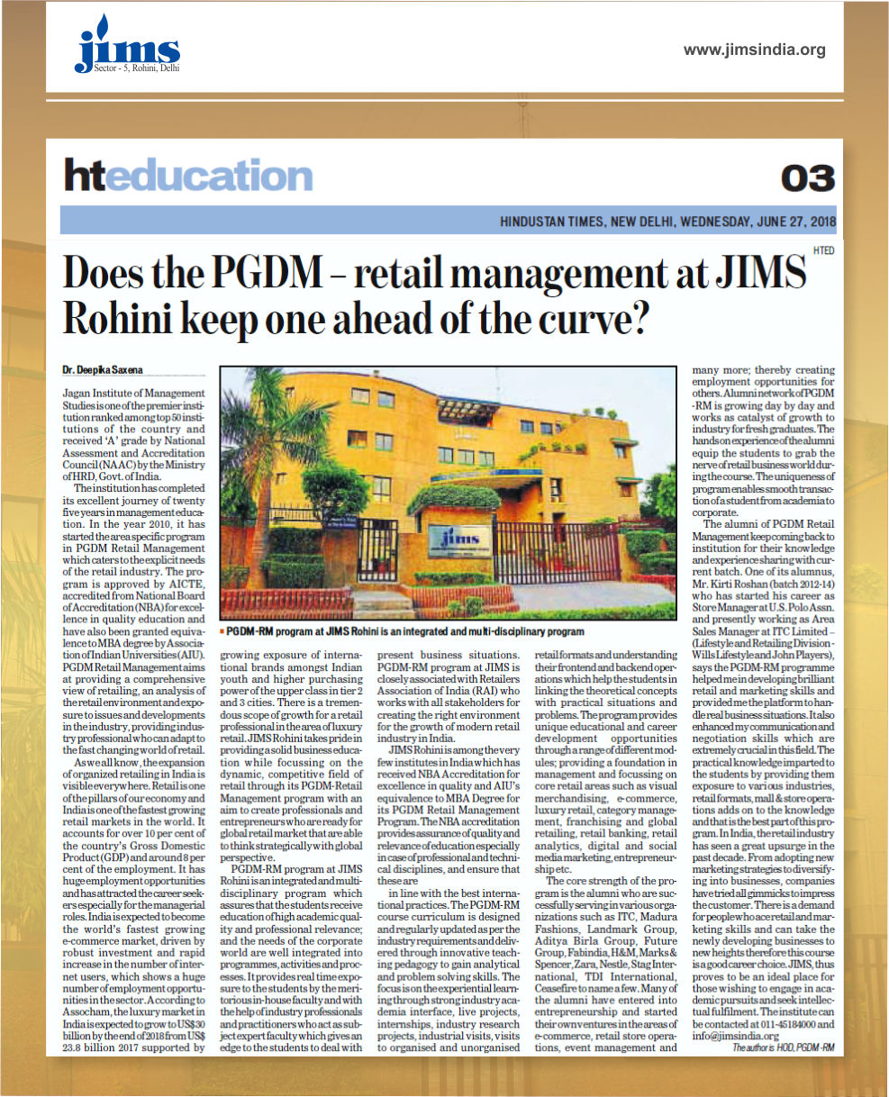 Article on Does the PGDM-Retail Management in JIMS Rohini Keep one ahead of the curve in Hindustan Times - Education