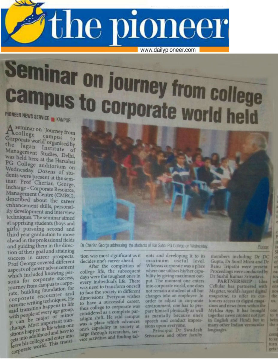 Seminar on journey from college campus to corporate world