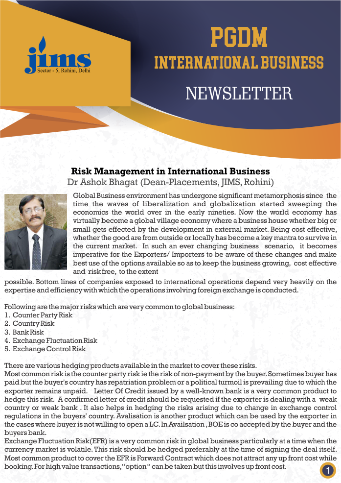 JIMS PGDM-IB Online newsletter [July - Sep, 2018]