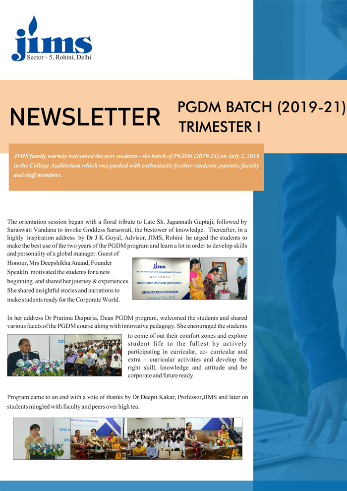 JIMS Rohini PGDM Online newsletter [July - Sep 2019]
