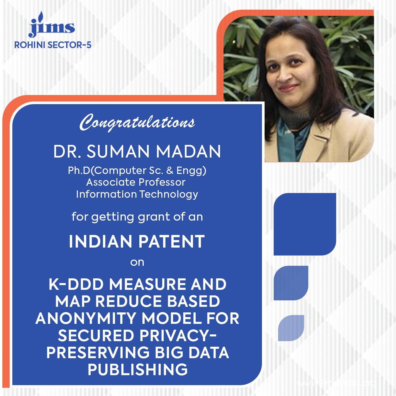 Indian Patent Dr. Suman Madan JIMS Rohini