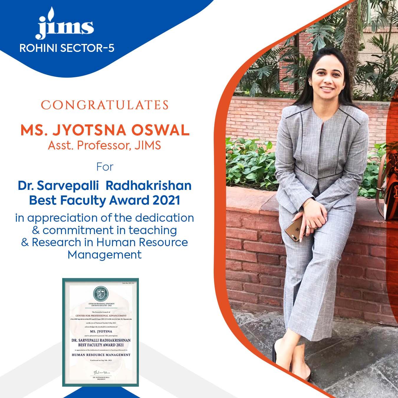 Ms. Jyotsana oswal Faculty JIMS Rohini