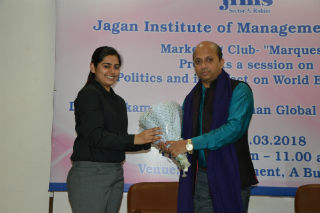 JIMS Marketing Club Marquest Organized a Guest Session on Politics and its Effect on World Economies