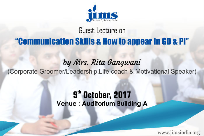 JIMS is organizing guest lecture session on Communication Skills & How to appear in GD & PI for BBA/BCA