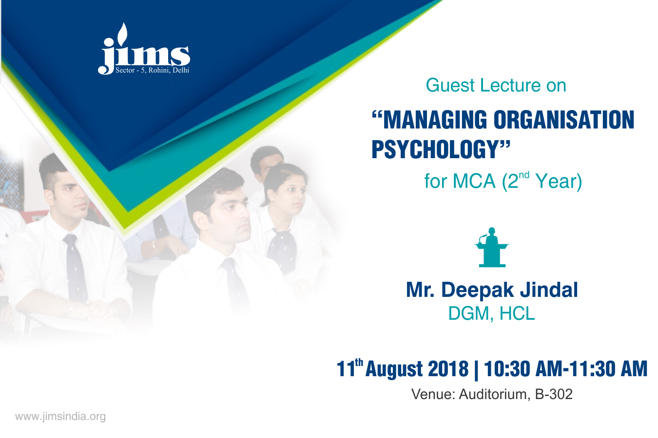 JIMS Rohini  IP department is organizing a guest lecture on Managing Organisation Psychology