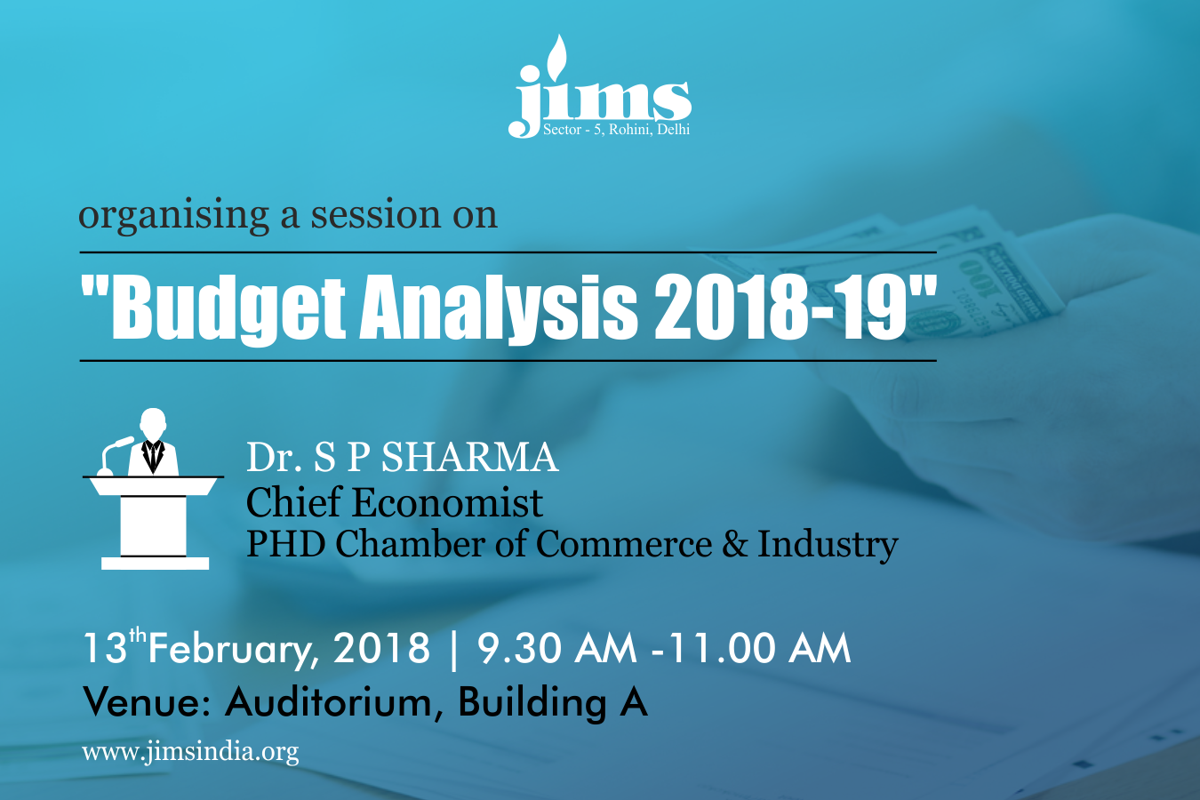 A Session on Budget Analysis 2018-19 at JIMS Rohini