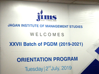 JIMS Rohini Orientation Program for PGDM Batch (2019-21) on 2nd July 2019