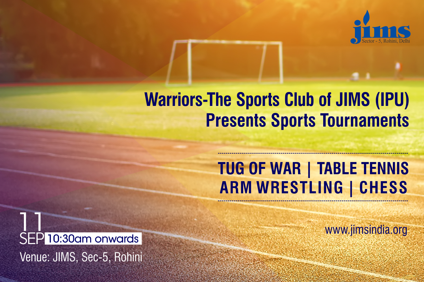 JIMS, Rohini sports club Warriors is organizing sports tournament on September 11, 2019 from 10:30 am onwards