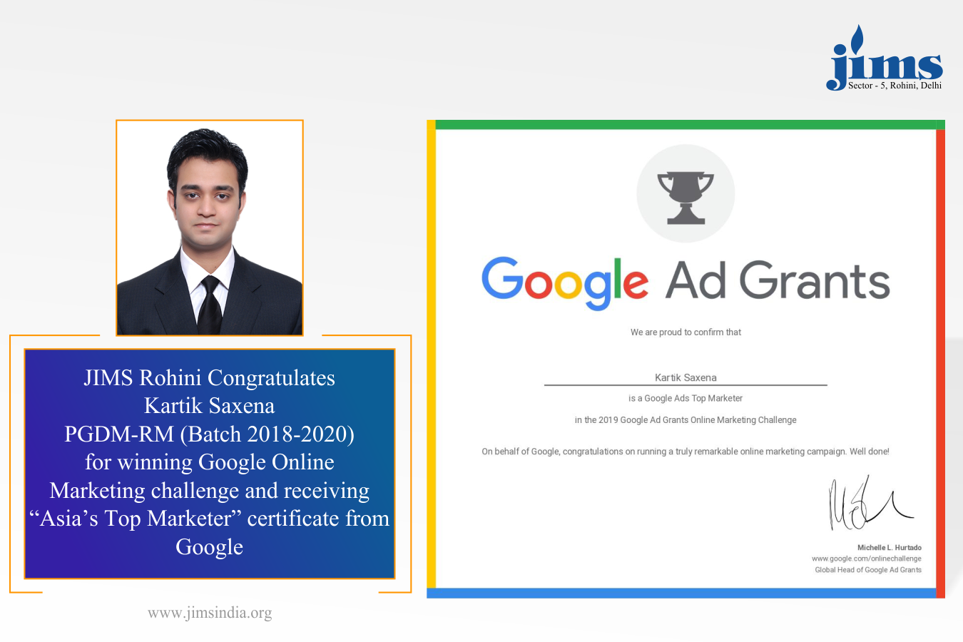 JIMS Rohini Congratulates Kartik Saxena, student PGDM-RM for winning Google Online Marketing challenge