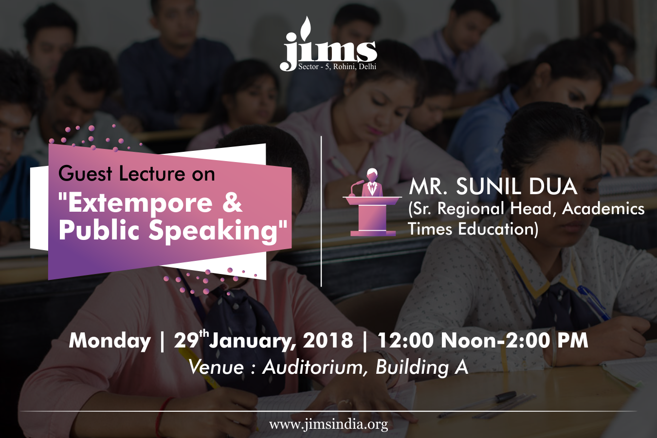 JIMS is organizing a guest lecture session on Extempore and Public Speaking