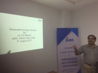 JIMS organised MDP on Management of Renewable Energy Sources