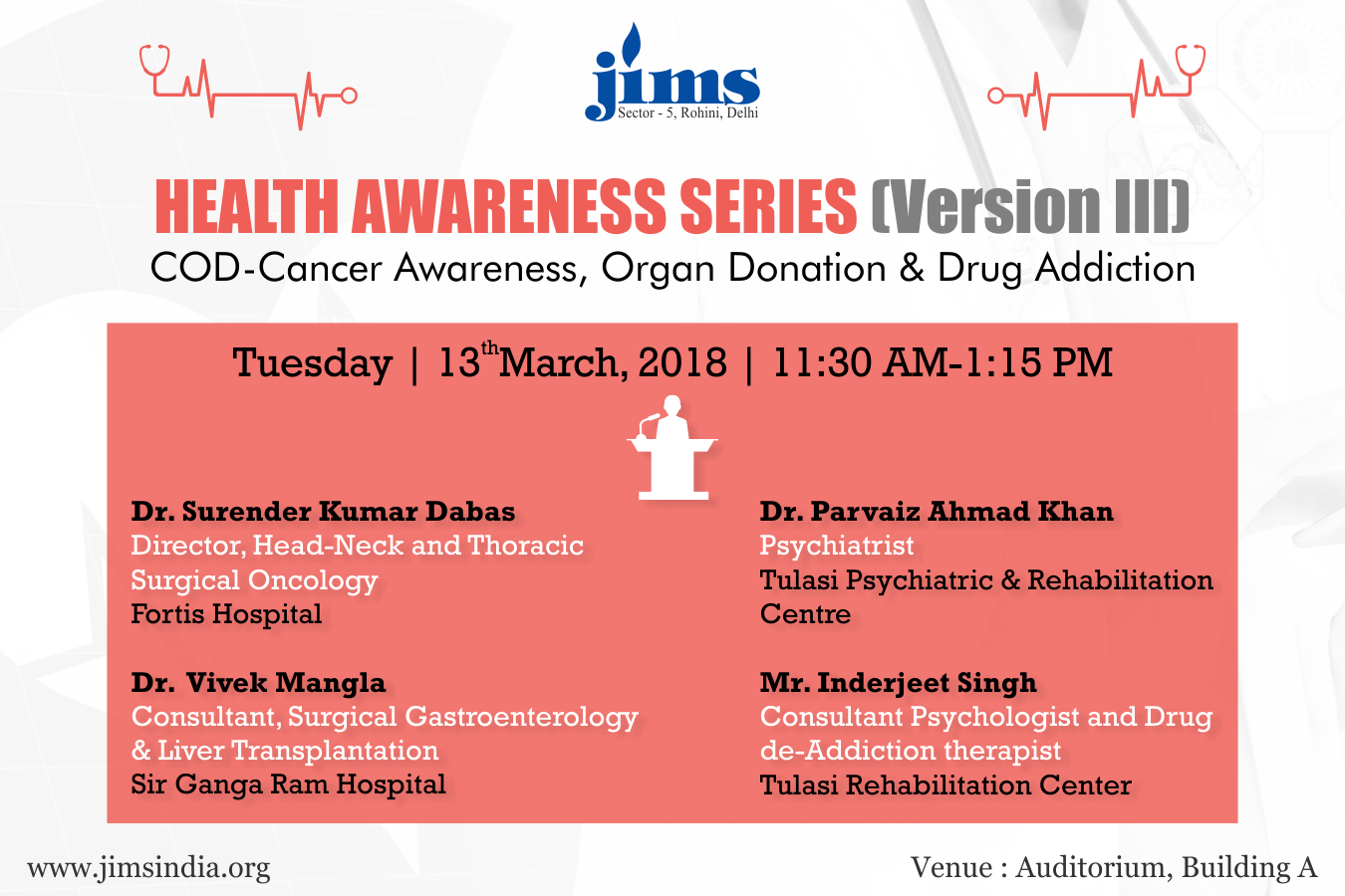 JIMS is organizing a Health Awareness Series (Version III) on Tuesday 13th March 2018