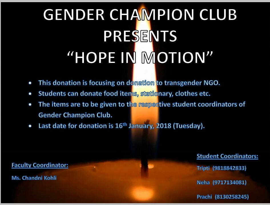 JIMS Gender Champions Club is organizing an event named HOPE IN MOTION