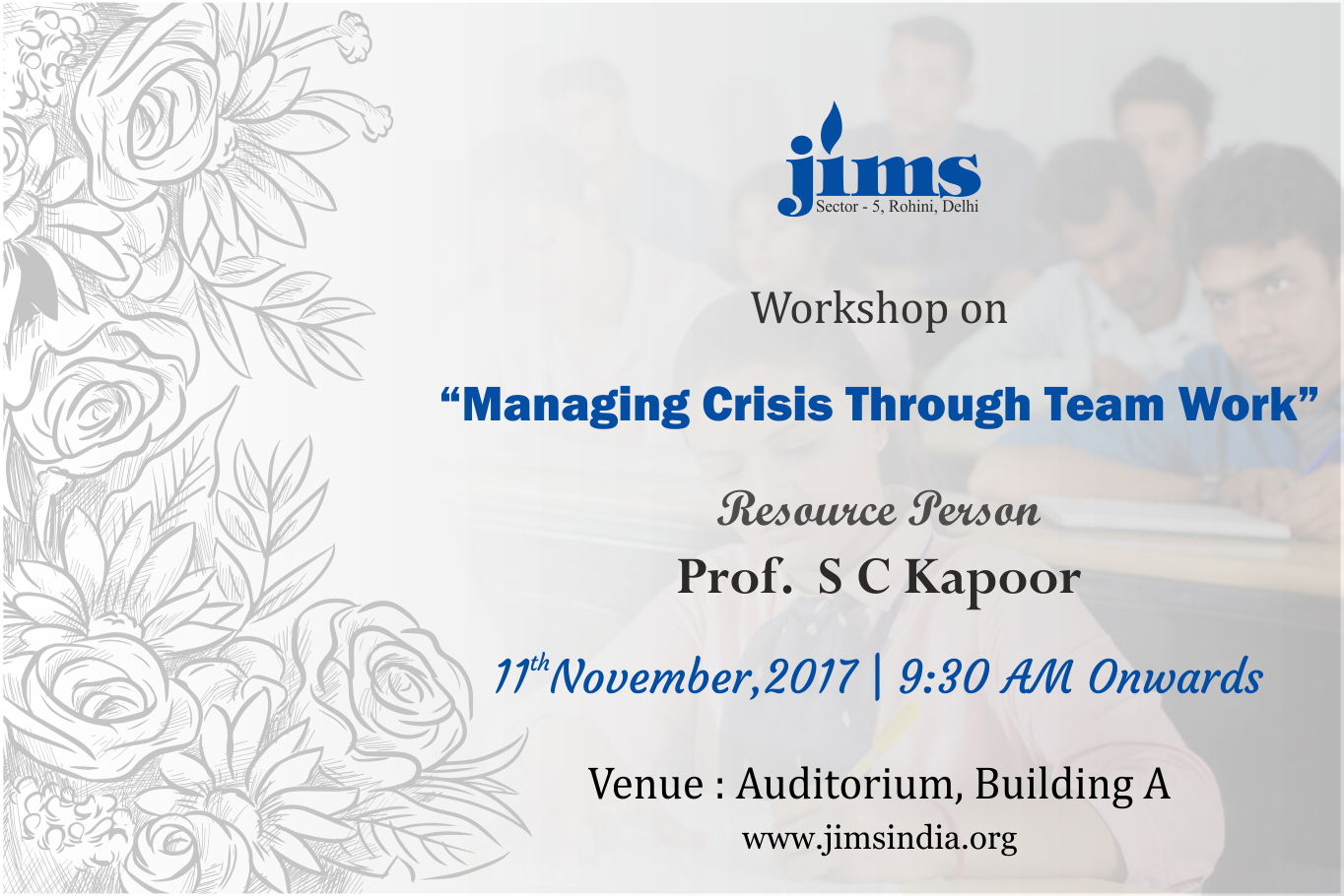 Workshop on Managing crisis through TEAM WORK