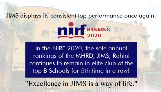 JIMS, Sector-5, Rohini, Delhi continues to remain in the list of ELITE B-SCHOOLS (Top 75) of India for the 5th year in a row on all India basis in National Institutional Ranking Framework (NIRF) 2020 of the Ministry of HRD, Govt. of India.