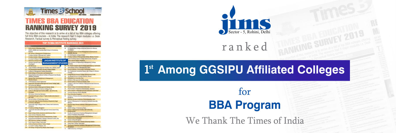 JIMS Rohini Ranked 1st Among GGSIPU Affiliated Colleges